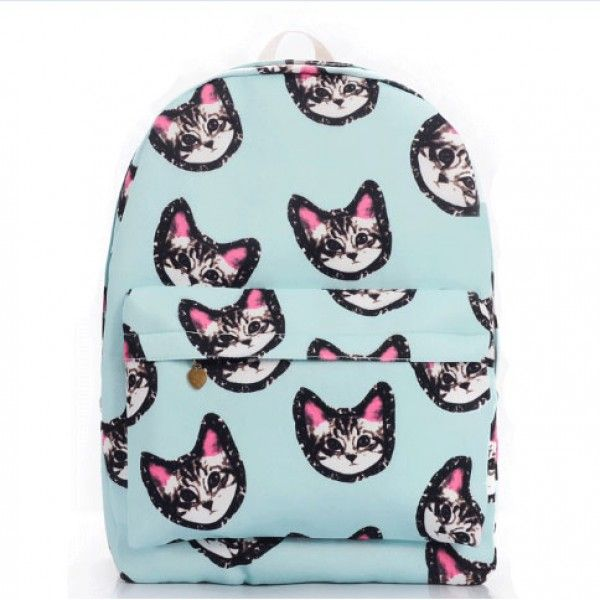 Cool! Light Blue Sweet Lovely Kitten Printing Canvas School Bag Satchel Backpack just $29.99 from ByGoods.com! I can't wait to get it!