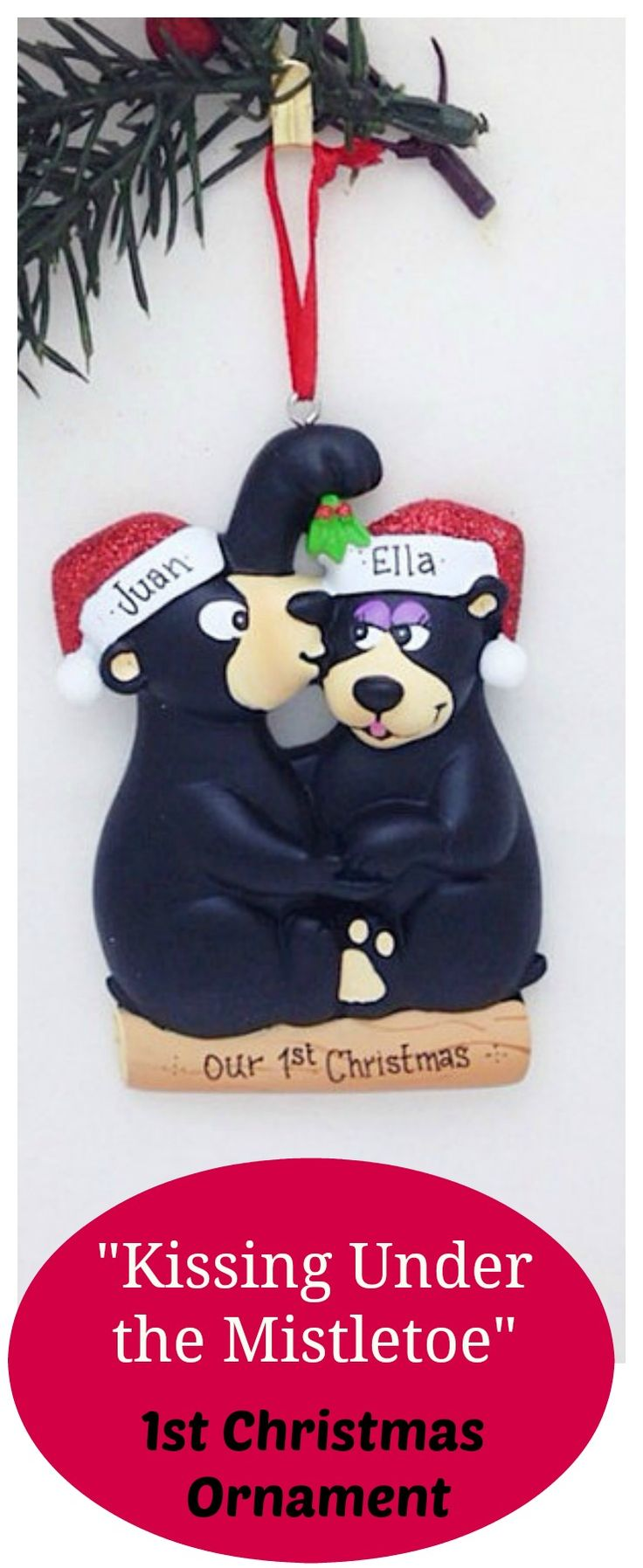 Personalized Christmas Ornament With Two Black Bears Kissing Under The  Mistletoe! A Great Gift For
