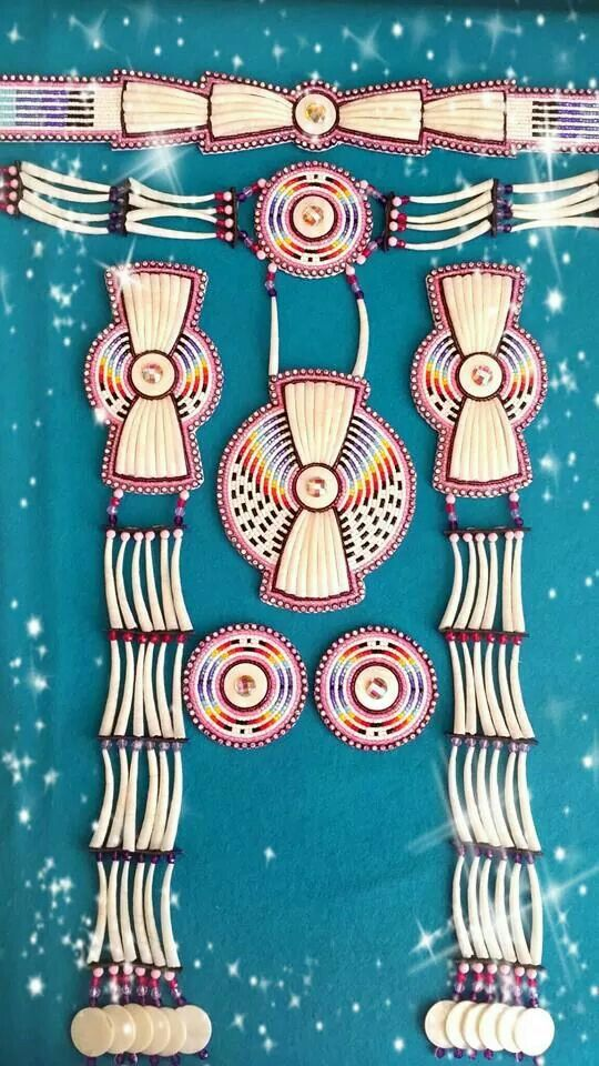 Delightful dentalium powwow set, bead embroidered with dentalium shells