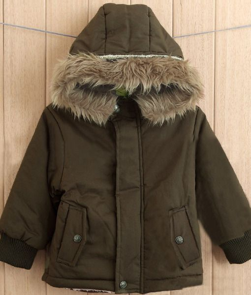 Boy Fur Collar Cotton Padded Hoodies Jacket Coat