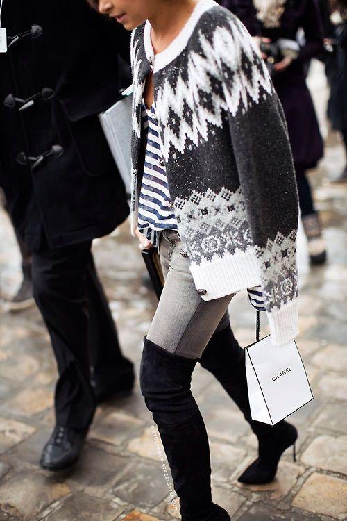 Stiletto boots & Icelandic sweater