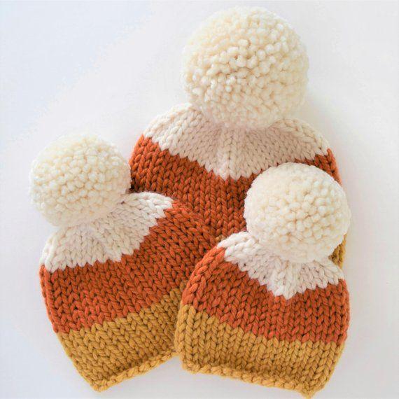 Candy Corn Beanie Pattern Fall Knitting Pattern Candy Etsy Fall Knitting Patterns Kids Hats Patterns Hat Knitting Patterns