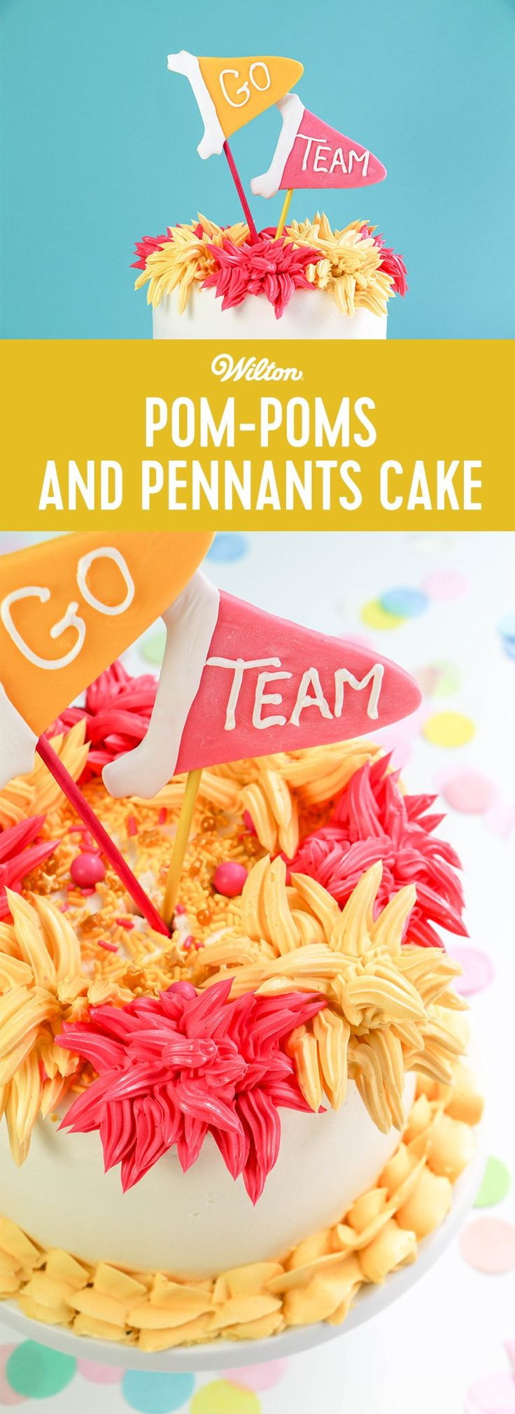Show support for your favorite team with this fun and easy Pom-Poms and Pennants Cake by Erin Gardner, author of Erin Bakes! Customize the pom poms and pennants with your favorite team's colors.