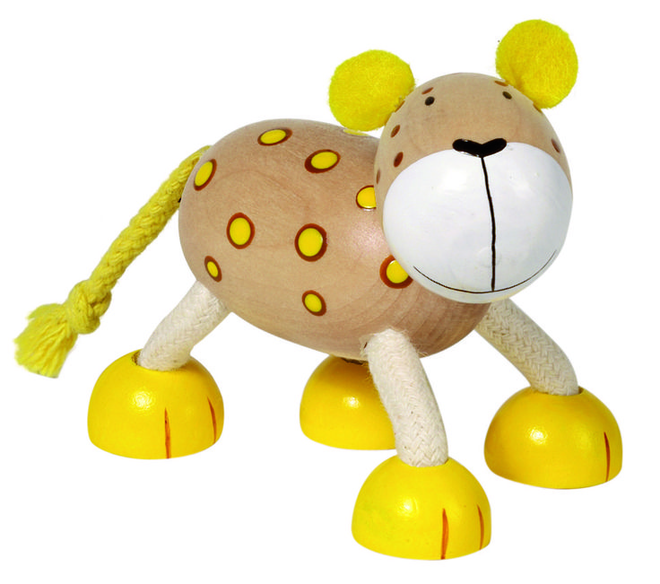 Natural and high quality toys to the development of the skills of children. This is my friend Liam. As a leopard he protects me.