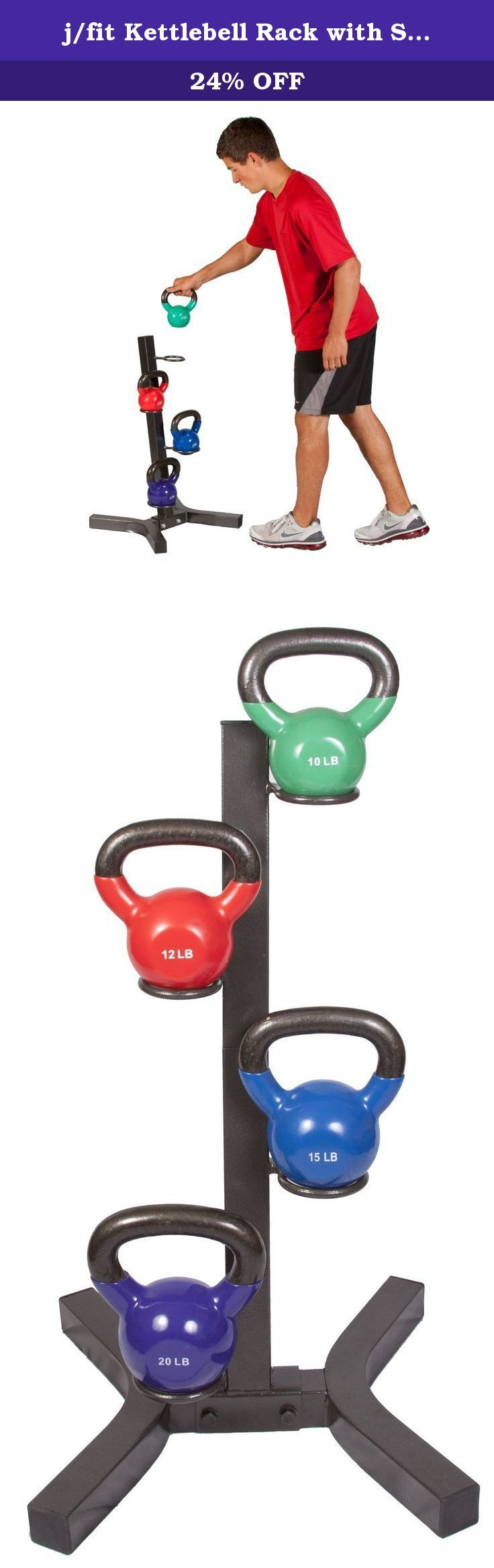 j/fit Kettlebell Rack with Set of 4 Kettlebells. Solid steel rack holds our most popular kettlebell sizes for home use. Keep your kettlebells off of the floor and nicely organized for quick use. A variety of kettlebell sizes allows for a complete home workout.