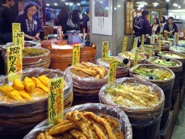 Pickles, seafood, sweets, and much more are sold at the Nishiki Market in downtown Kyoto, Japan.