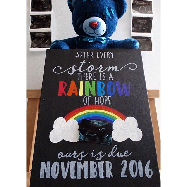 Pin for Later: 16 Creative Rainbow Baby Pregnancy Announcement Ideas Personalized Chalkboard Art