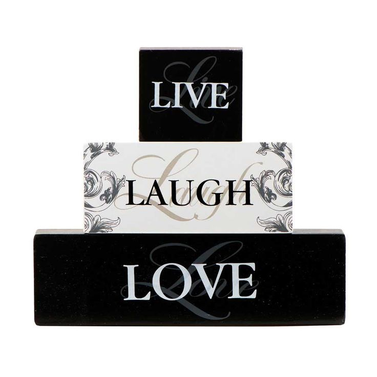 """An elegant mix of black and white script and printed font adorns this stacking block set of """"Live Laugh Love""""."""