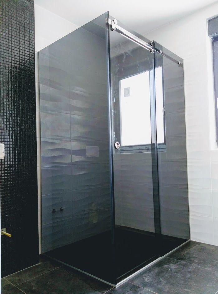 Bathroom ideas Modern bathroom Glass shower Fixed glass screen Grey
