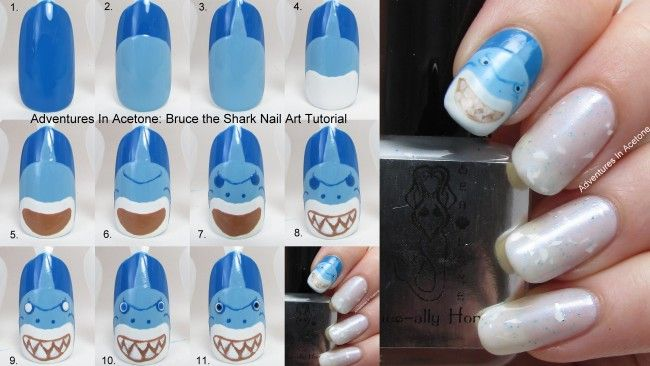Bruce the Shark Nail Art Tutorial collage