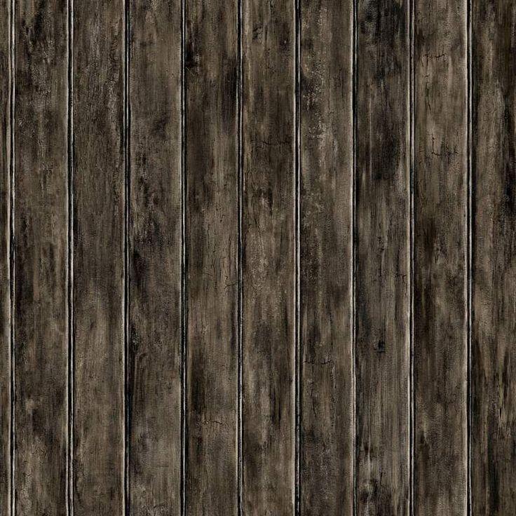 York Wallcoverings HK4716 Bead Board Wallpaper Charcoal Grey / Black / Warm Beige Home Decor Wallpaper Wallpaper