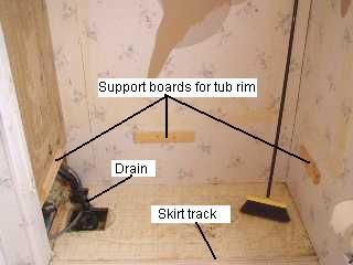 Bathtub Replacement | Mobile Home Repair. Be sure that the rim support boards are set at the proper height for the new tub. Use boards longer than what's shown in the illustration. Set level and secure into the studs of the wall.