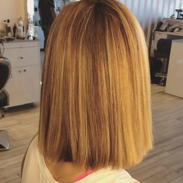 Удлиненное каре боб на средние волосы