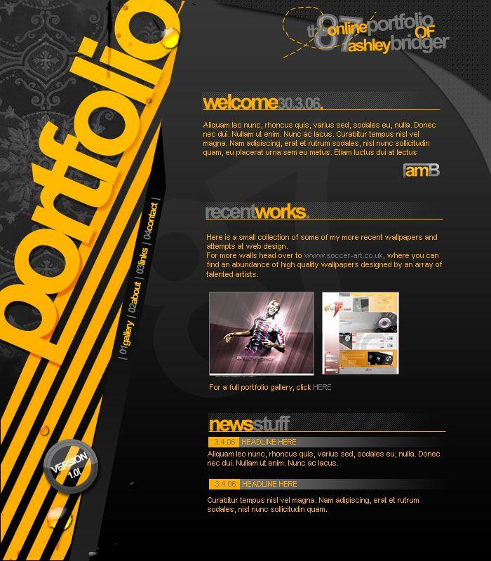 Portfolio design v1 by ~ashbridger on deviantART