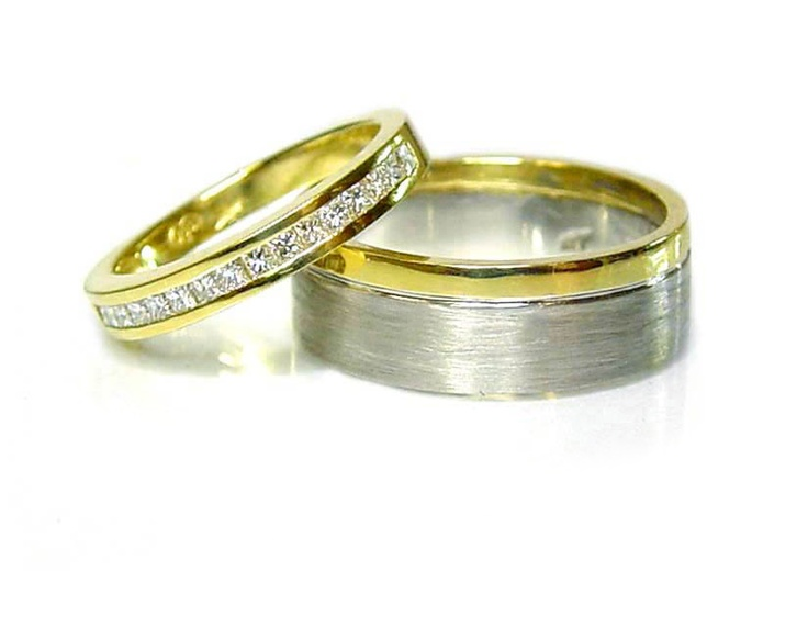 Chibnalls Custom made his and hers wedding rings in 18ct yellow and white gold with channel set princess cut diamonds