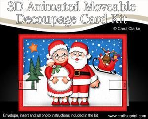 3D Santa N Mrs Claus Animated Moveable Decoupage Card Kit