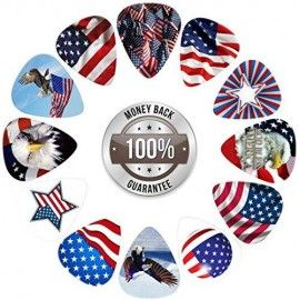 American Flag Guitar Picks Collection (12-pack), Enjoy Strumming These Cool Picks and Showing Your Patriotic Support for Our Great Country of America- Size Medium Celluloid, These Custom Printed Picks Include Modern U.S.A. Flag and Bald Eagle Designs.  This unique American Flag guitar picks collection provides 12 Celluloid Picks in the classic, standard guitar pick shape with a comfortably wide body and a rounded tip that prevents chipping and provides a warm, fat musical tone. For acousti