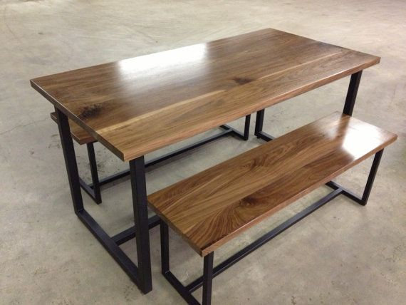 """54"""" Dining Set - Steel Frame / Solid Walnut 54"""" x 30"""" Table Top & 44"""" Seats"""