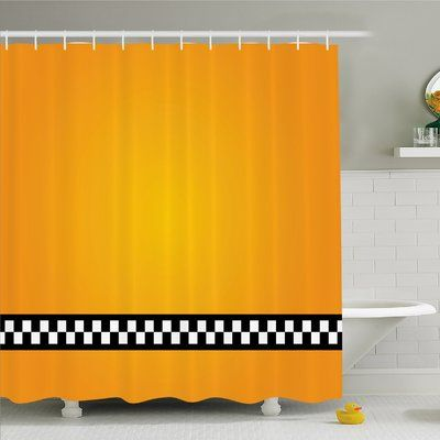 """Ambesonne Taxi Cab Yellow with line of Checkers Classic Artdeco Arts Print Shower Curtain Set Size: 84"""" H x 69"""" W x 1"""" D"""