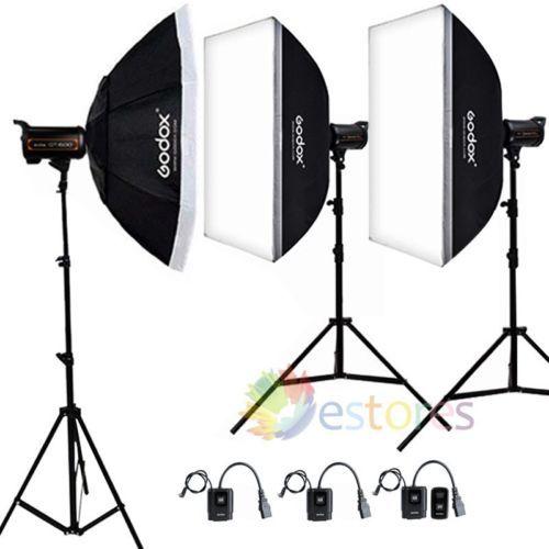 GODOX QT-600 1800W 3x600W High Speed Studio Strobe Flash Softbox Photography Kit