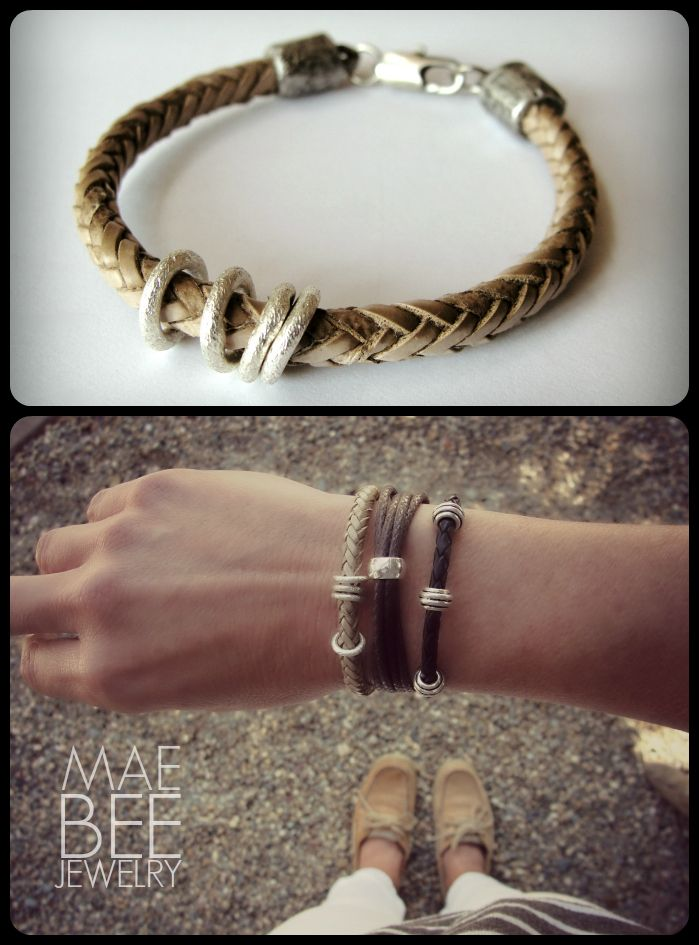 Braided Leather and Sterling bracelets from JewelryByMaeBee on #Etsy. www.jewelrybymaebee.etsy.com
