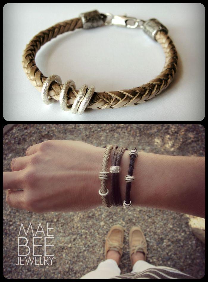 Braided Leather and Sterling bracelets from JewelryByMaeBee on #Etsy. www.jewelrybymaebee.etsy.com