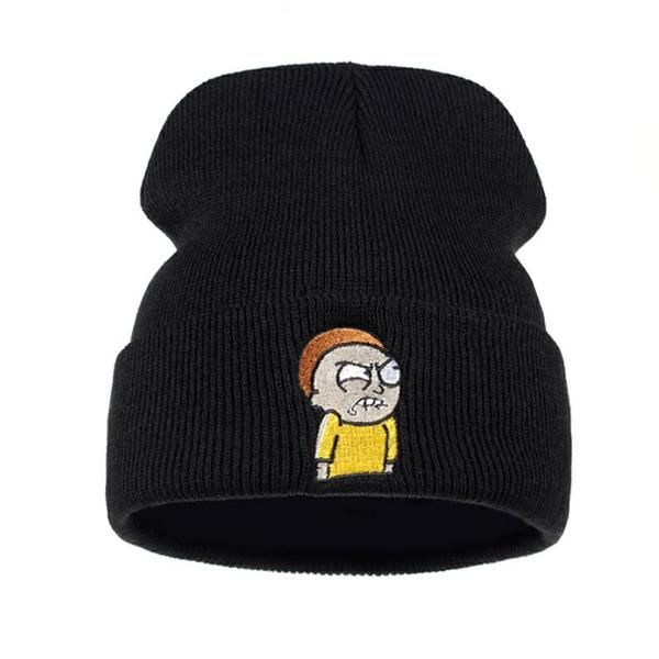 58a537d68ff Angry Morty Beanie Warm Winter Animation Rick and Morty Knitted Hat Elastic  Brand Ski Cap Unisex