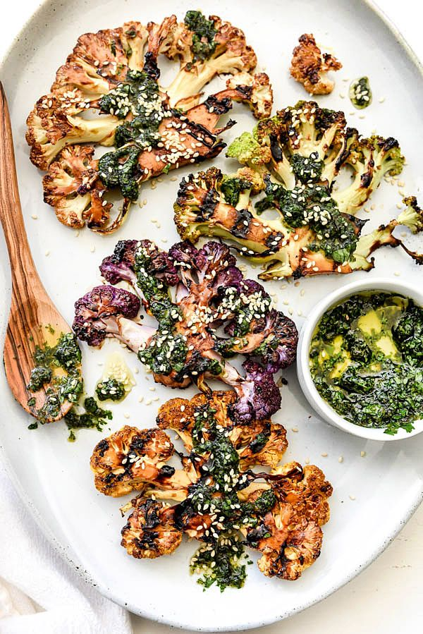 Grilled Cauliflower Steaks with Asian Gremolata for a veggie spin on grilling steaks / foodiecrush.com