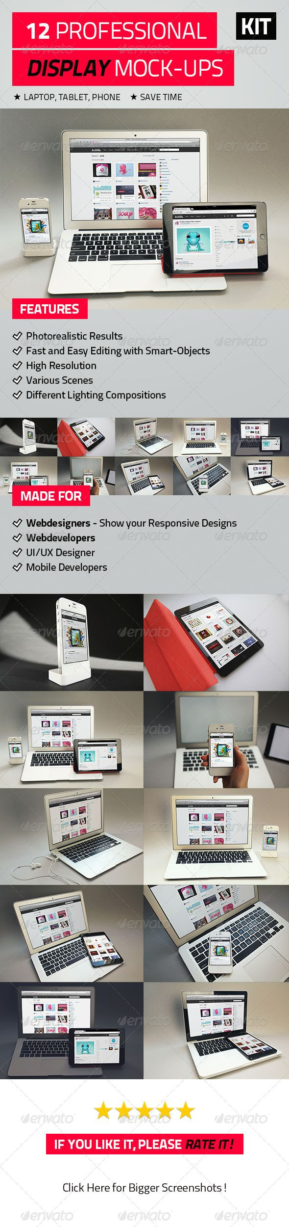 12 Professional Display Mock-Ups  #GraphicRiver        12 Professional Display Mock-Ups. Made for webdesigners, mobile-app designers/developers and mobile-app developers, to preview their designs, apps and websites in a professional and in the most photorealistic way.   Features     12 different Mock-Ups   iPad Mini – Black, iPhone 4S, MacBook Pro, MacBook Air/li>   Completely customizable mock-ups. (layered PSD-file)   Very high resolution: 5182×3456 px   Different angles   Easy to use with…