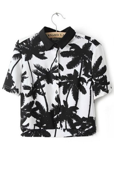 "Tropical Palm Button-up Cropped Shirt - OASAP.com  oasap seems ilke another one of those ""too good to be true"" sites"