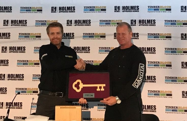 Timber Block Partners with Mike Holmes!  The new partnership between Timber Block and Mike Holmes was made official when Timber Block CEO Mike Mathon handed over a key to the factory. This new partnership will be a game changer in the industry. Timber Block will include a certificate of compliance for each home package sold, signed off by both Timber Block and Mike Holmes. This will signify the home package is a Holmes Approved Home. Read more here…