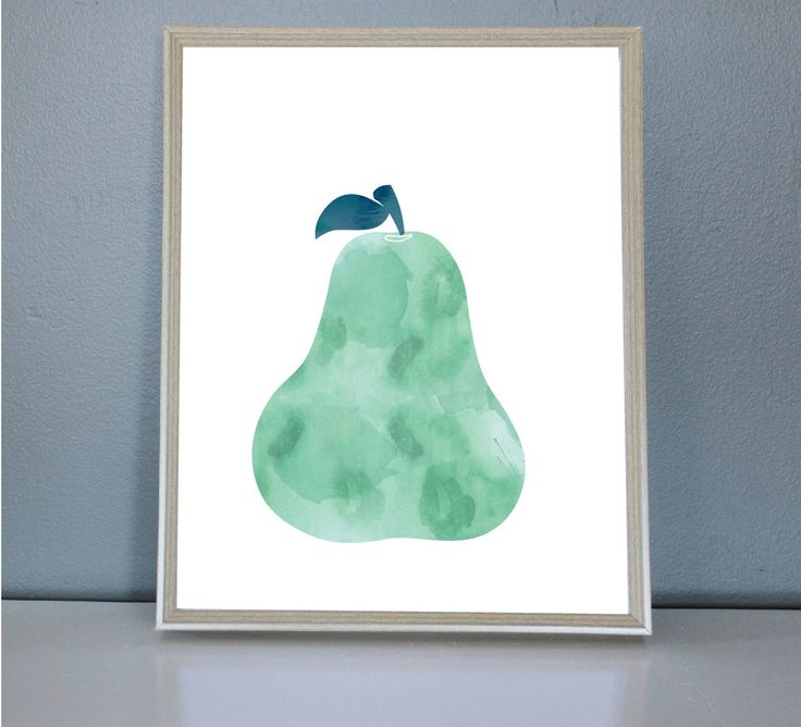 Watercolour Pear- Wall/Art Print 8X10, 11X14 by PrettyPaperPlaceShop on Etsy