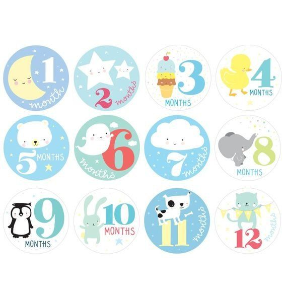 Little baby milestone stickers for baby boys.