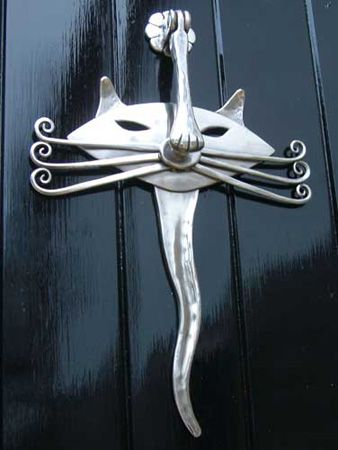 Cat door knocker - forged stainless steel by Bromley O'Hare - Blacksmith - Designer - Sculptor