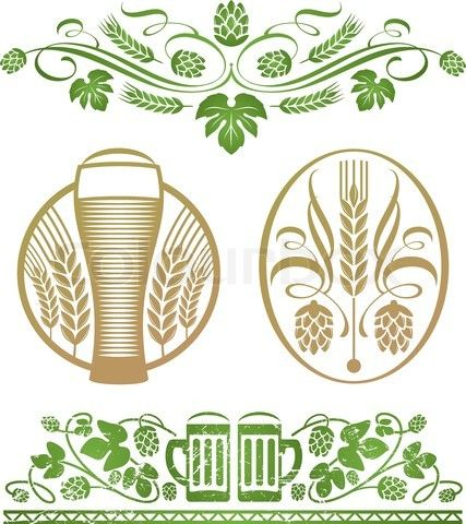 Vector of 'Vector set - decorative stylized hop and beer' on Colourbox