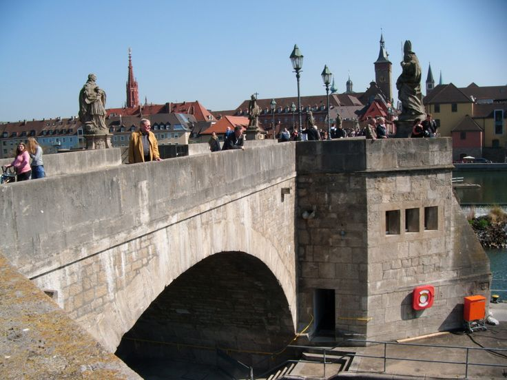 The wonderful Alte Mainbrucke (the old bridge of river Main) in Wurzburg, Germany. 2014