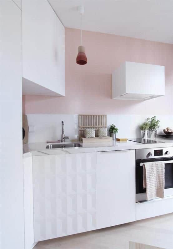 Beautiful Cuisine Blanche Et Rose Pictures - House Design ...