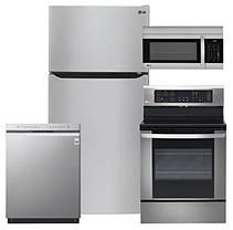 """Large Capacity 33"""" Wide, Top Freezer Refrigerator, Single Oven Electric Range with EasyClean,  Over-the-Range Microwave"""