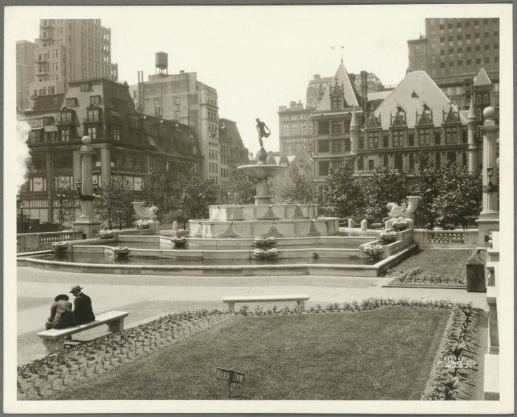 "Cornelius Vanderbilt II Gilded Age Mansion and the Grand Army plaza, with fountain. ""Keep Off""-the grass!"