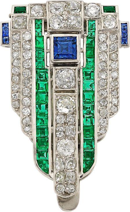 Art Deco Diamond, Sapphire, Emerald, Platinum Clip-Brooch. Heritage Auctions 2014 April 29 Fine Jewelry Signature Auction - New York #5178 - (post auction buy price: $500 including buyer's premium.)
