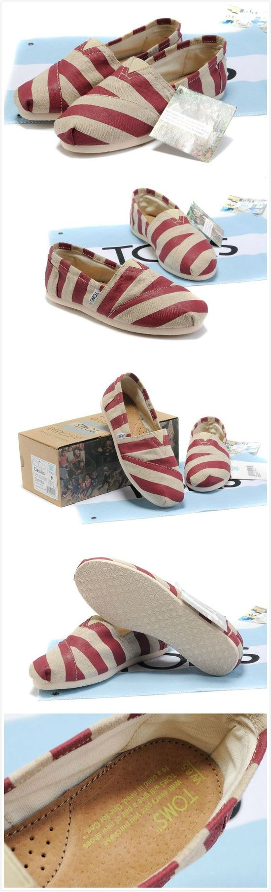 Burlap Striped Women Toms Classics #Red!  #toms #shoes