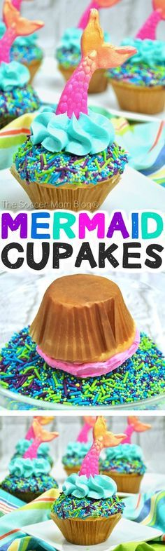 These crazy cute Mermaid Cupcakes are the viral party trend of the summer! Here's how to make them (the easy way) at home. #mermaid #cupcakes #desserts #partyrecipes via @soccermomblog