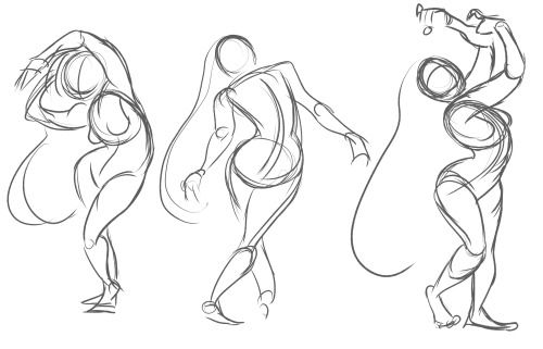 A few gestures to stay loose. These poses were drawn from On Air's Croquis Cafe life drawing videos. These videos are a really good resource for warming up, cooling down, or just brushing up on your poses and anatomy.