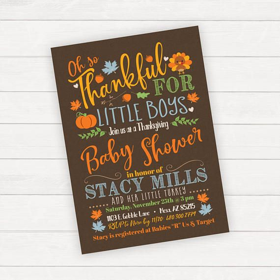 Fall Baby Shower Invitation Thanksgiving Baby Shower