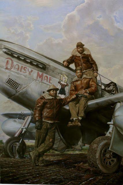 """""""Сватовство Дейзи Мей"""", доска, масло 26.5""""Х37.6"""" 2012  Особенности наземного экипажа капитан Вудроу Крокетт группы 332-го бойца и его Р-51 Мустанг, который был назван по имени его жены. Капитан Крокетт был вручен крест за летные заслуги для героических действий 12 августа 1944 года и еще 22 января 1945 года. Капитан Крокетт был удостоен солдатской медали За героические действия 16 ноября 1944 года. Это те люди, что приняли все необходимые меры, чтобы сохранить капитана Крокетт ВДВ."""