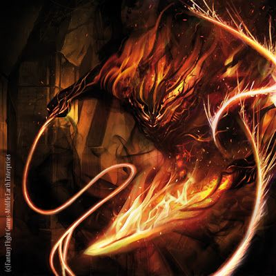 """Magali Villeneuve Portfolio: The Lord of The Rings LCG : the Balrog """"Durin's Bane'"""