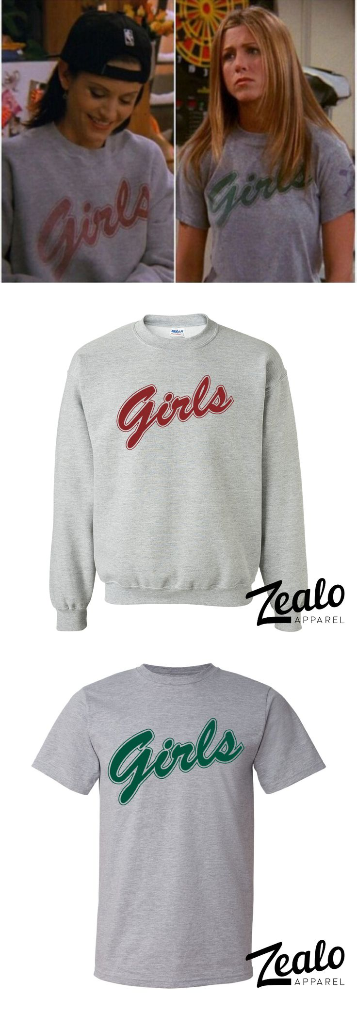 Monica Geller Style Girls Sweater. Just over a week ago we launched a replica of Rachel Green's 'Girls' baseball tee. This week we're pleased to announce the arrival of its twin! A replica of the 'Girls' sweater worn by Monica Geller in Friends is now ava http://bellanblue.com