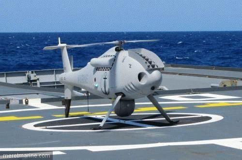 Le drone Camcopter S-100 sur le patrouilleur L