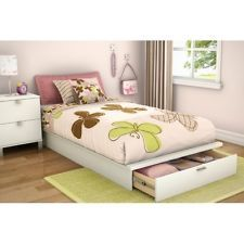 details about new childrens childs kids white finish twin size platform bed frame with drawer