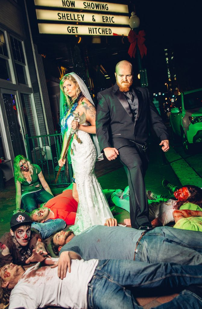 Zombies, Vikings, and a hawk: Shelley & Eric know funny weddings